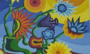 14-Vaso di fiori con gambi recisi e girasole